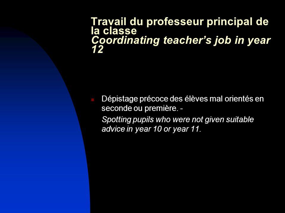 Travail du professeur principal de la classe Coordinating teachers job in year 12 Dépistage précoce des élèves mal orientés en seconde ou première. -