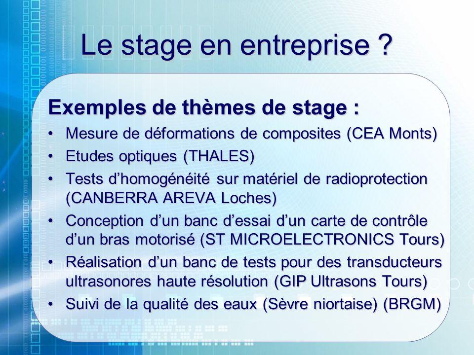 Le stage en entreprise ? Exemples de thèmes de stage : Mesure de déformations de composites (CEA Monts)Mesure de déformations de composites (CEA Monts