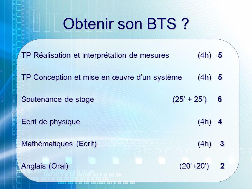 Obtenir son BTS ? TP Réalisation et interprétation de mesures (4h) 5 TP Conception et mise en œuvre dun système(4h) 5 Soutenance de stage(25 + 25) 5 E