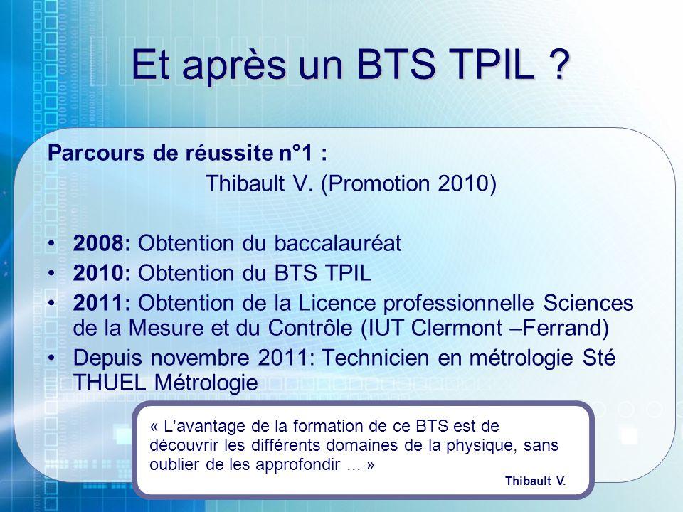 Et après un BTS TPIL ? Parcours de réussite n°1 : Thibault V. (Promotion 2010) 2008: Obtention du baccalauréat 2010: Obtention du BTS TPIL 2011: Obten