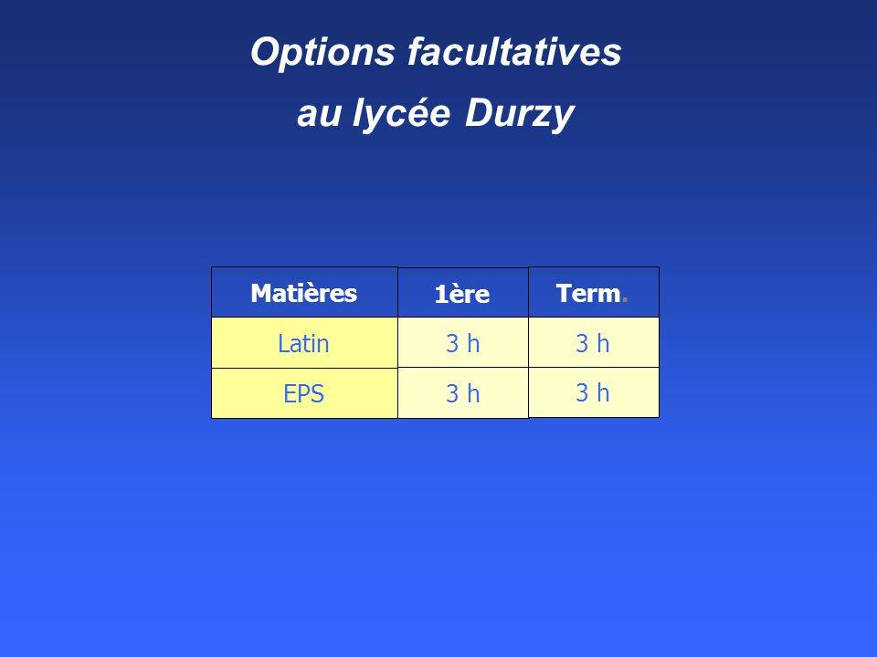 Options facultatives au lycée Durzy Matières 1ère Term. Latin EPS 3 h