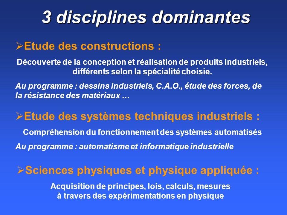 3 disciplines dominantes Etude des constructions : Découverte de la conception et réalisation de produits industriels, différents selon la spécialité choisie.