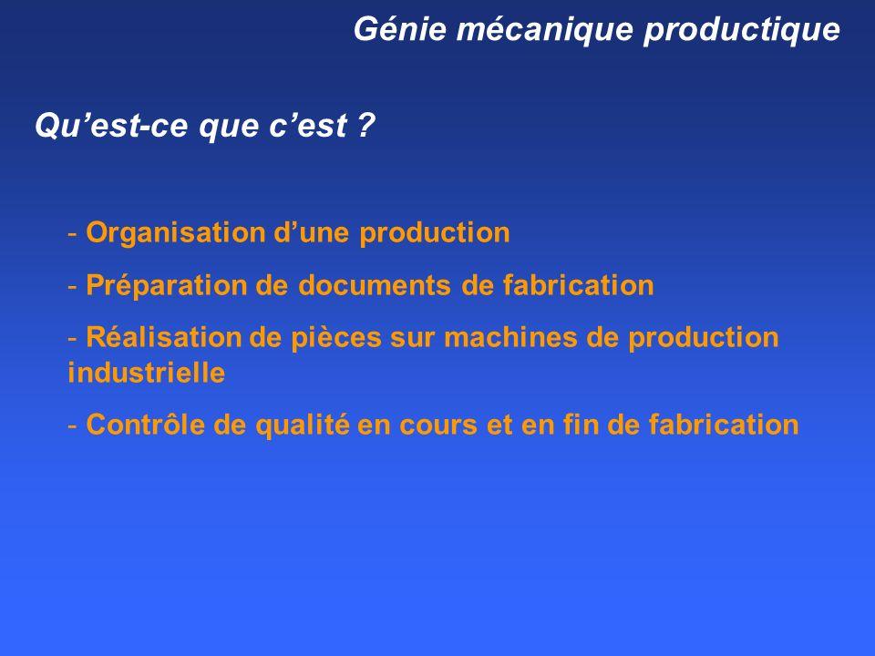 Génie mécanique productique Quest-ce que cest .