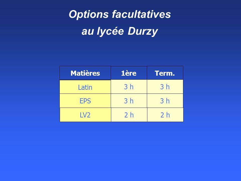 Options facultatives au lycée Durzy Matières 1ère Term. Latin EPS 3 h LV2 2 h