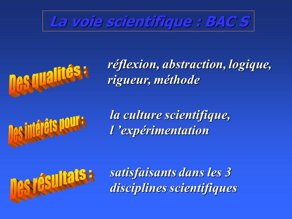 La voie scientifique : BAC S réflexion, abstraction, logique, rigueur, méthode la culture scientifique, l expérimentation satisfaisants dans les 3 disciplines scientifiques