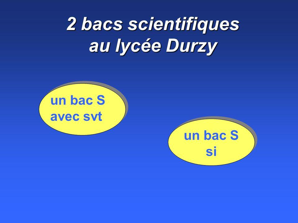 2 bacs scientifiques au lycée Durzy un bac S avec svt un bac S si
