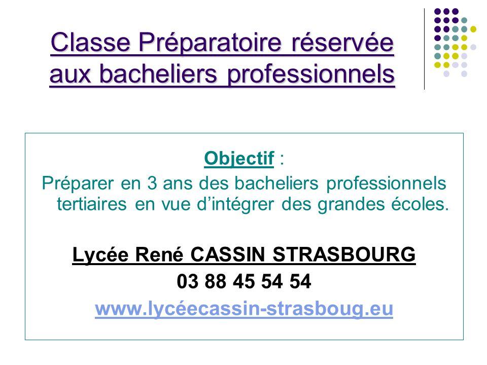 Classe Préparatoire réservée aux bacheliers professionnels Objectif : Préparer en 3 ans des bacheliers professionnels tertiaires en vue dintégrer des grandes écoles.