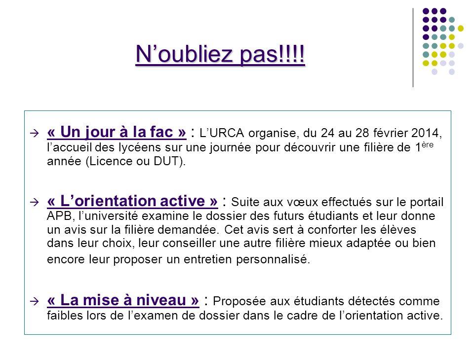 « Un jour à la fac » : LURCA organise, du 24 au 28 février 2014, laccueil des lycéens sur une journée pour découvrir une filière de 1 ère année (Licence ou DUT).