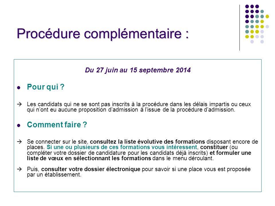 Procédure complémentaire : Du 27 juin au 15 septembre 2014 Pour qui .
