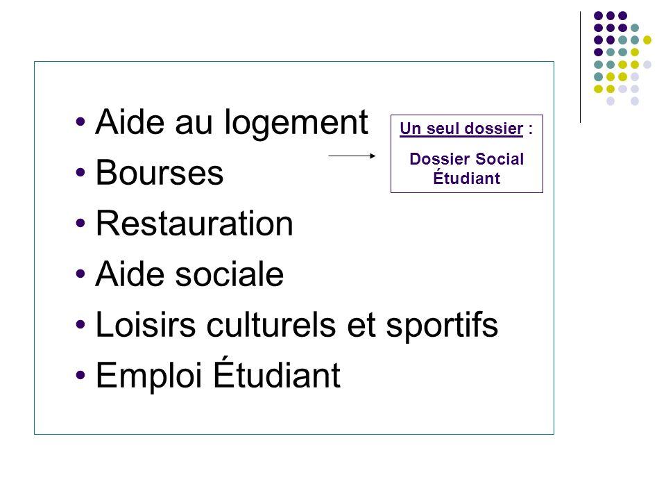Aide au logement Bourses Restauration Aide sociale Loisirs culturels et sportifs Emploi Étudiant Un seul dossier : Dossier Social Étudiant