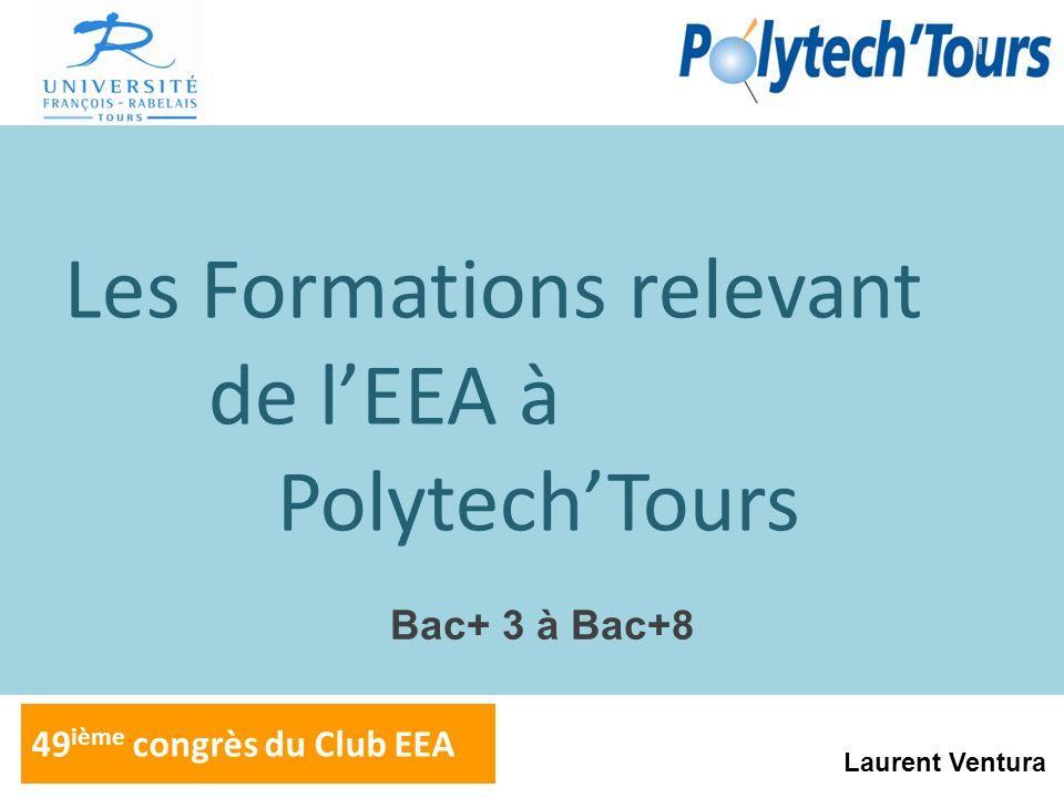 Les Formations relevant de lEEA à PolytechTours 49 ième congrès du Club EEA 1 Laurent Ventura Bac+ 3 à Bac+8