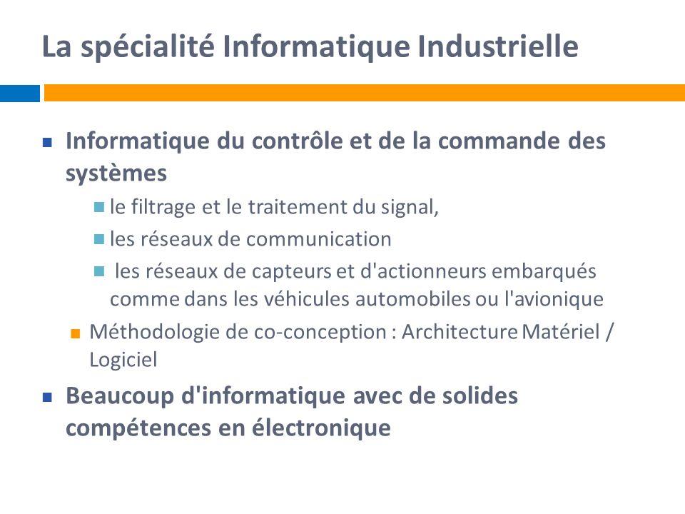 La spécialité Informatique Industrielle Informatique du contrôle et de la commande des systèmes le filtrage et le traitement du signal, les réseaux de