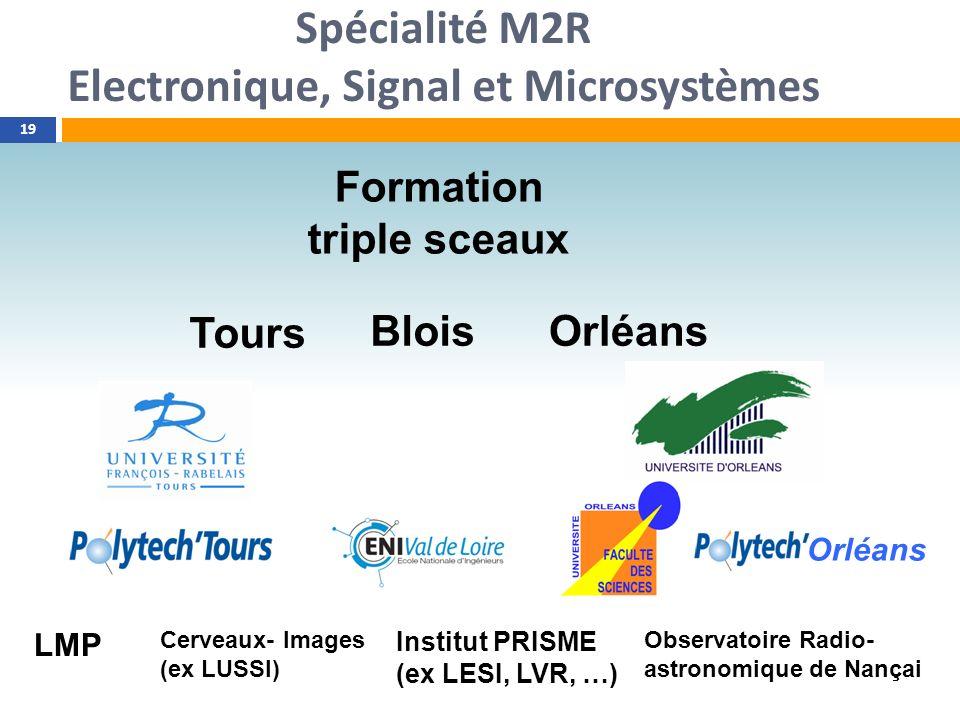 Spécialité M2R Electronique, Signal et Microsystèmes 19 Formation triple sceaux Tours BloisOrléans LMP Cerveaux- Images (ex LUSSI) Institut PRISME (ex