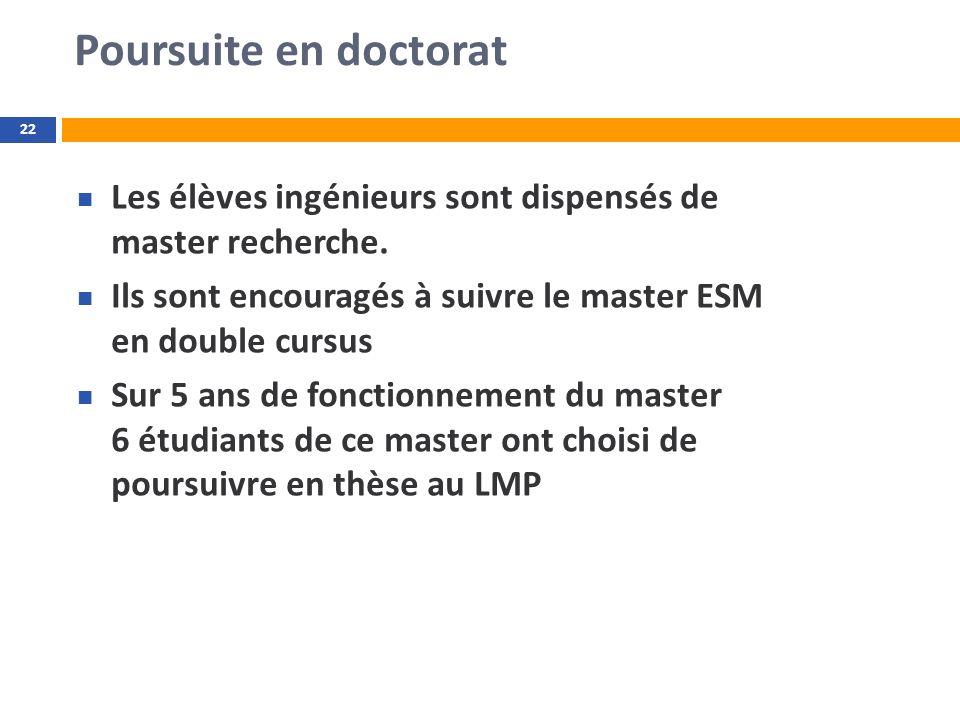 Poursuite en doctorat 22 Les élèves ingénieurs sont dispensés de master recherche. Ils sont encouragés à suivre le master ESM en double cursus Sur 5 a