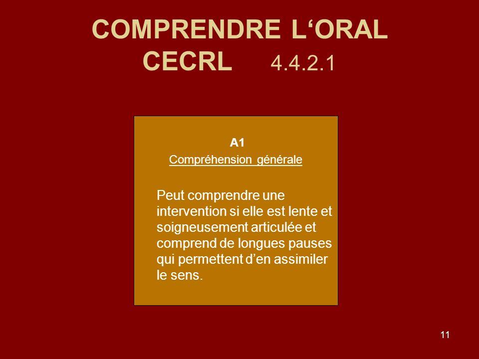 11 COMPRENDRE LORAL CECRL 4.4.2.1 A1 Compréhension générale Peut comprendre une intervention si elle est lente et soigneusement articulée et comprend de longues pauses qui permettent den assimiler le sens.