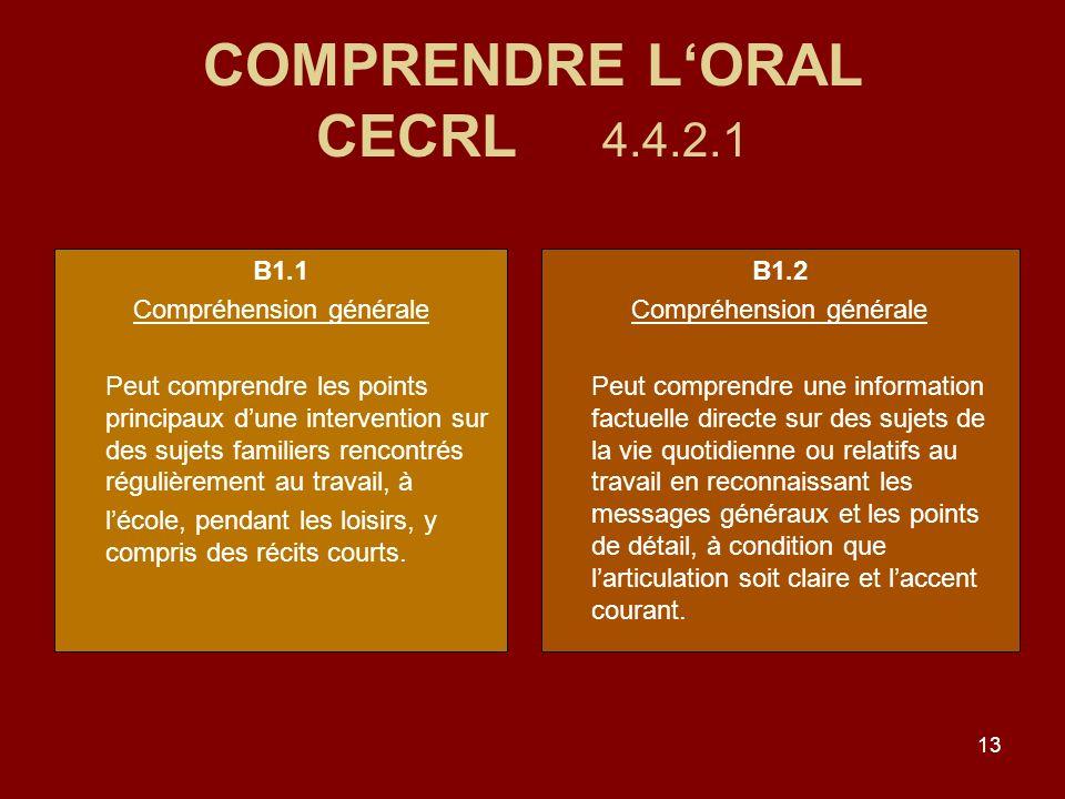 13 COMPRENDRE LORAL CECRL 4.4.2.1 B1.1 Compréhension générale Peut comprendre les points principaux dune intervention sur des sujets familiers rencontrés régulièrement au travail, à lécole, pendant les loisirs, y compris des récits courts.