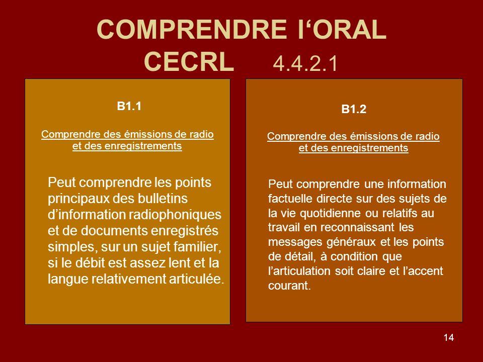 14 COMPRENDRE lORAL CECRL 4.4.2.1 B1.1 Comprendre des émissions de radio et des enregistrements Peut comprendre les points principaux des bulletins dinformation radiophoniques et de documents enregistrés simples, sur un sujet familier, si le débit est assez lent et la langue relativement articulée.