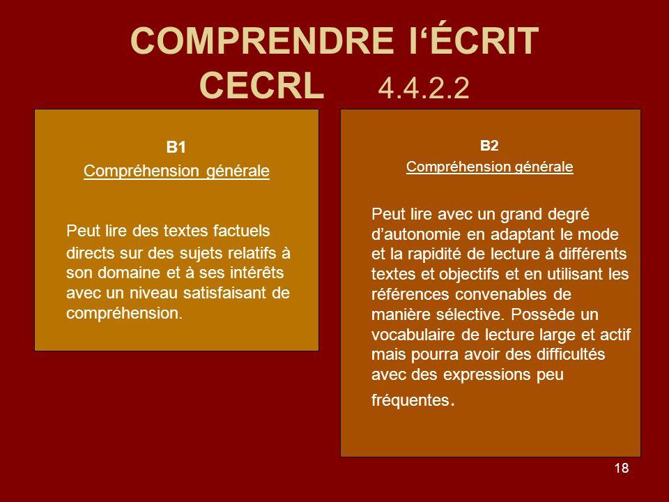 18 COMPRENDRE lÉCRIT CECRL 4.4.2.2 B1 Compréhension générale Peut lire des textes factuels directs sur des sujets relatifs à son domaine et à ses intérêts avec un niveau satisfaisant de compréhension.