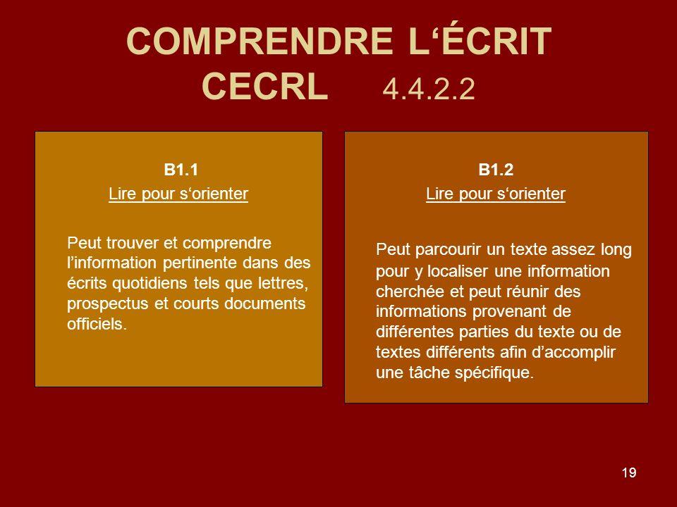 19 COMPRENDRE LÉCRIT CECRL 4.4.2.2 B1.1 Lire pour sorienter Peut trouver et comprendre linformation pertinente dans des écrits quotidiens tels que lettres, prospectus et courts documents officiels.
