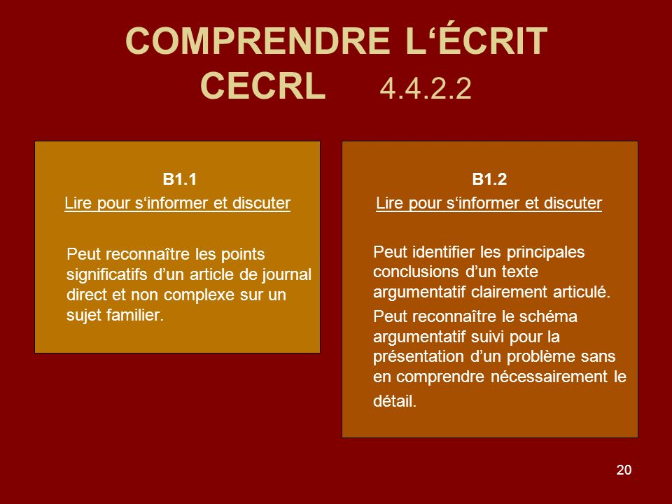 20 COMPRENDRE LÉCRIT CECRL 4.4.2.2 B1.1 Lire pour sinformer et discuter Peut reconnaître les points significatifs dun article de journal direct et non complexe sur un sujet familier.