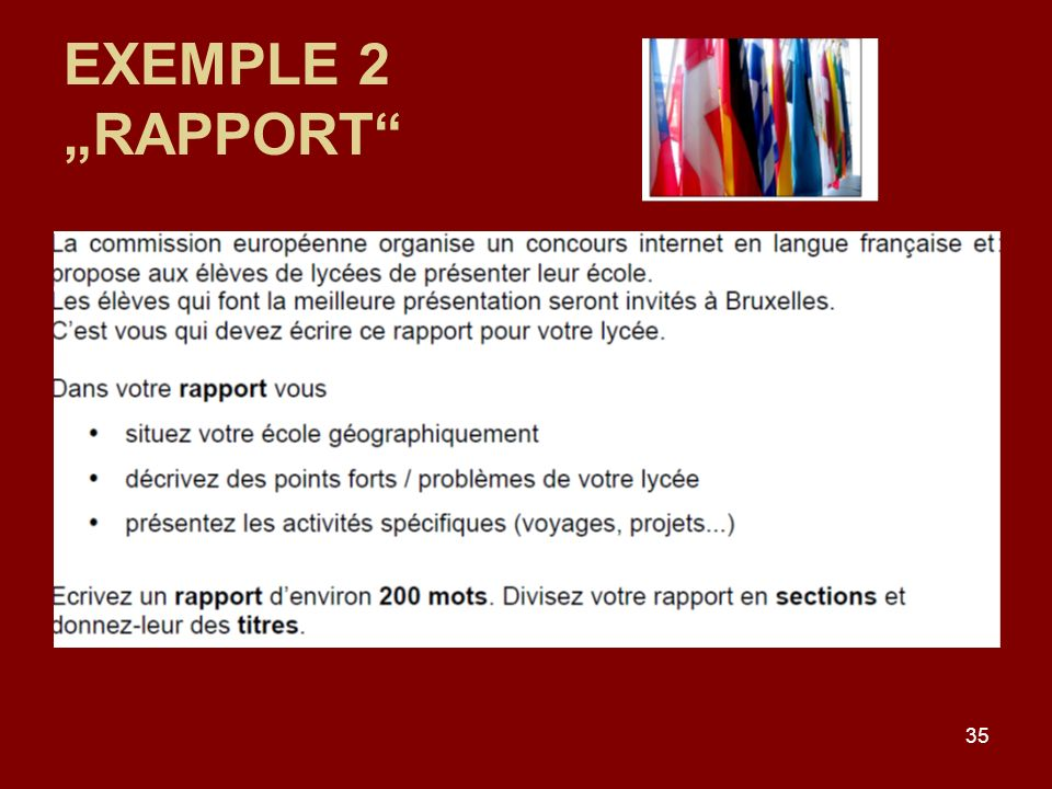 35 EXEMPLE 2 RAPPORT