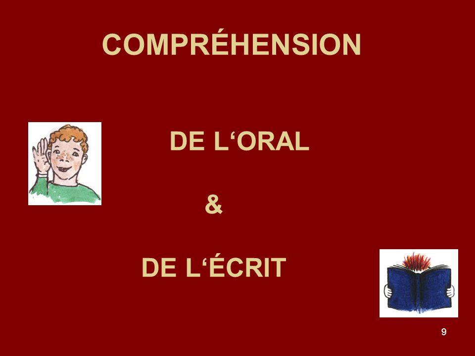9 COMPRÉHENSION DE LORAL & DE LÉCRIT