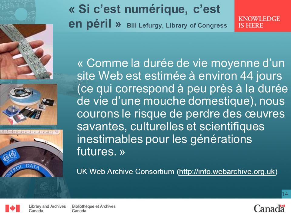 14 « Si cest numérique, cest en péril » Bill Lefurgy, Library of Congress « Comme la durée de vie moyenne dun site Web est estimée à environ 44 jours