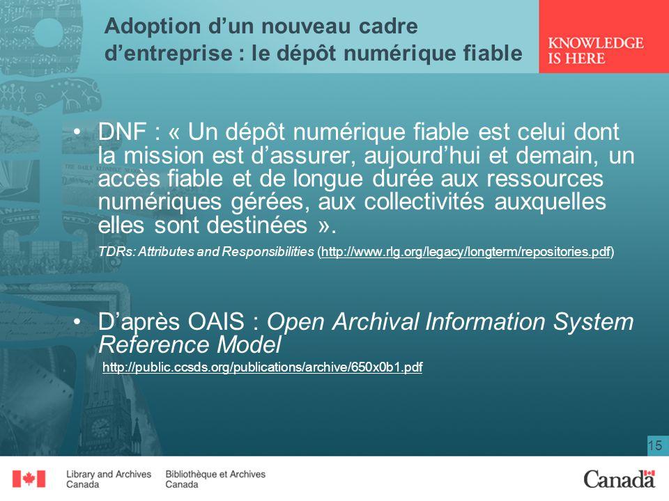15 Adoption dun nouveau cadre dentreprise : le dépôt numérique fiable DNF : « Un dépôt numérique fiable est celui dont la mission est dassurer, aujour