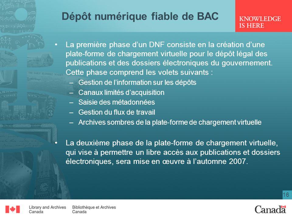 16 Dépôt numérique fiable de BAC La première phase dun DNF consiste en la création dune plate-forme de chargement virtuelle pour le dépôt légal des pu