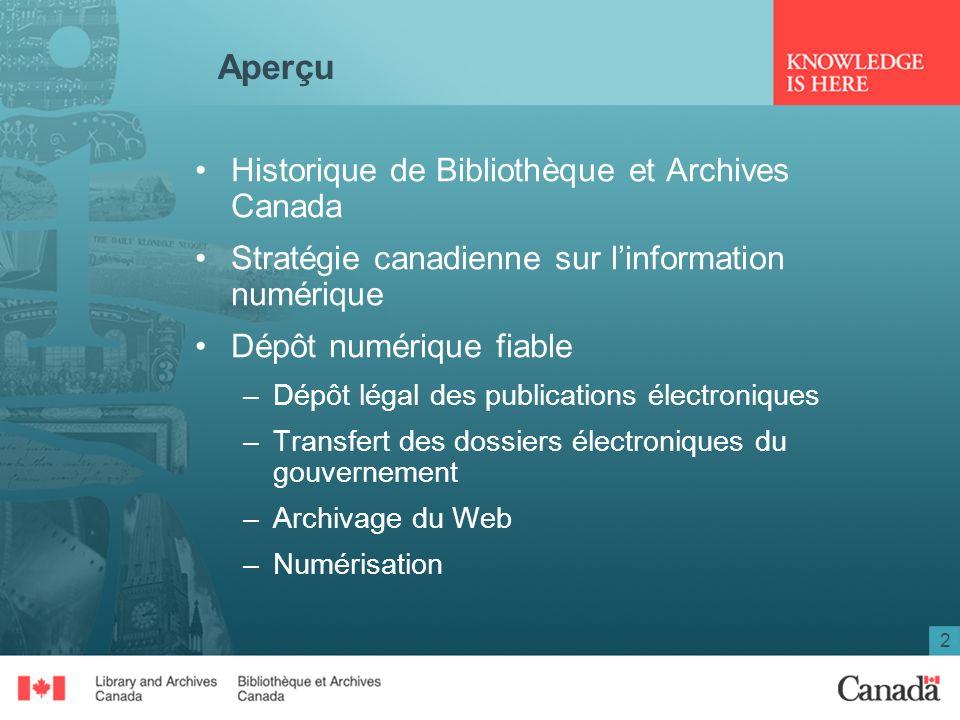 2 Aperçu Historique de Bibliothèque et Archives Canada Stratégie canadienne sur linformation numérique Dépôt numérique fiable –Dépôt légal des publica