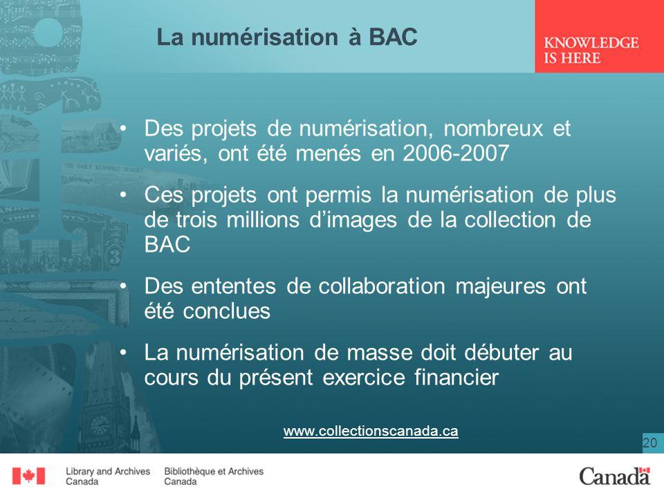 20 La numérisation à BAC Des projets de numérisation, nombreux et variés, ont été menés en 2006-2007 Ces projets ont permis la numérisation de plus de