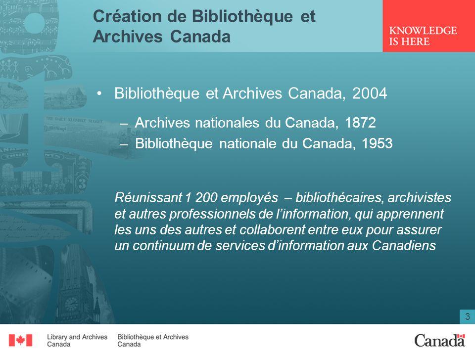 3 Création de Bibliothèque et Archives Canada Bibliothèque et Archives Canada, 2004 –Archives nationales du Canada, 1872 –Bibliothèque nationale du Ca