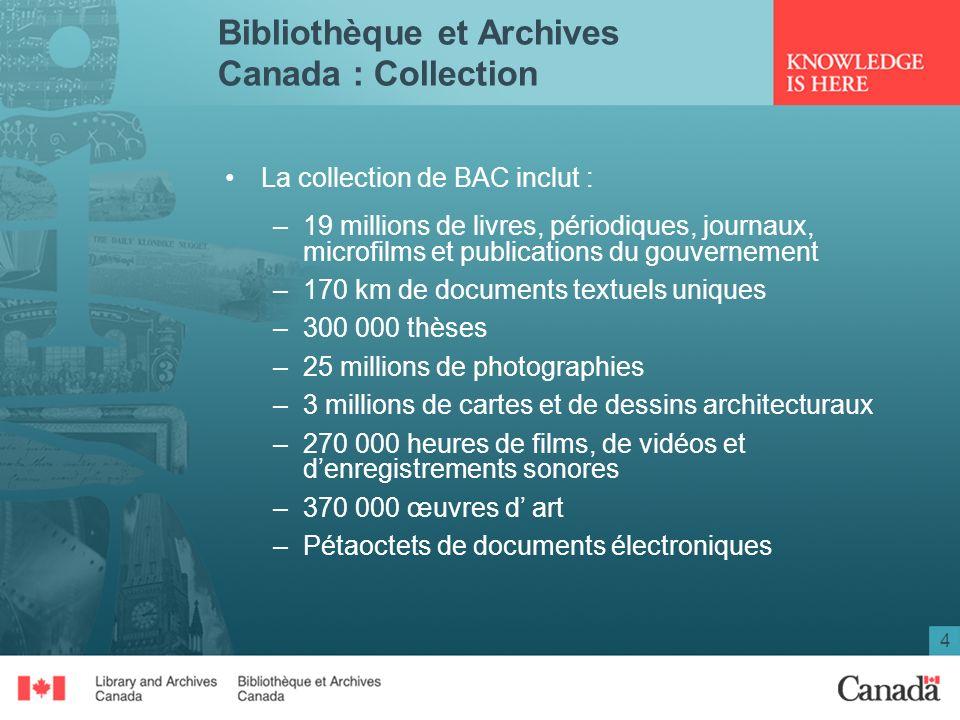 4 Bibliothèque et Archives Canada : Collection La collection de BAC inclut : –19 millions de livres, périodiques, journaux, microfilms et publications