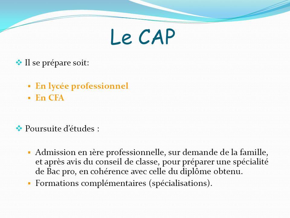 Il se prépare soit: En lycée professionnel En CFA Poursuite détudes : Admission en 1ère professionnelle, sur demande de la famille, et après avis du c