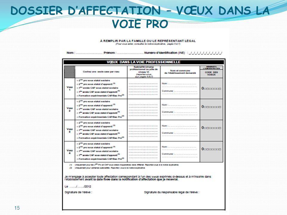 DOSSIER DAFFECTATION – VŒUX DANS LA VOIE PRO 15