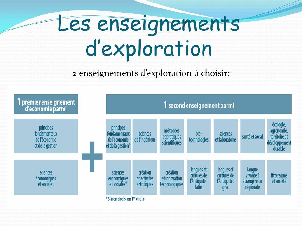 2 enseignements dexploration à choisir: Les enseignements dexploration
