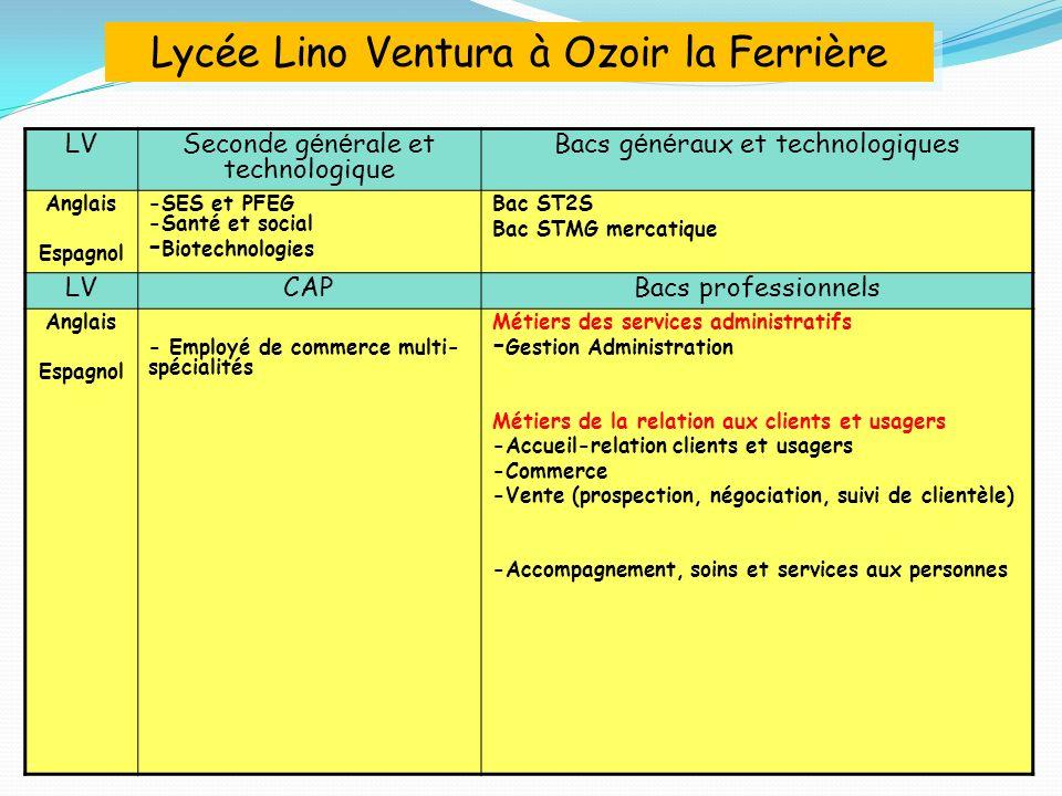 LV Seconde g é n é rale et technologique Bacs g é n é raux et technologiques Anglais Espagnol -SES et PFEG -Santé et social - Biotechnologies Bac ST2S