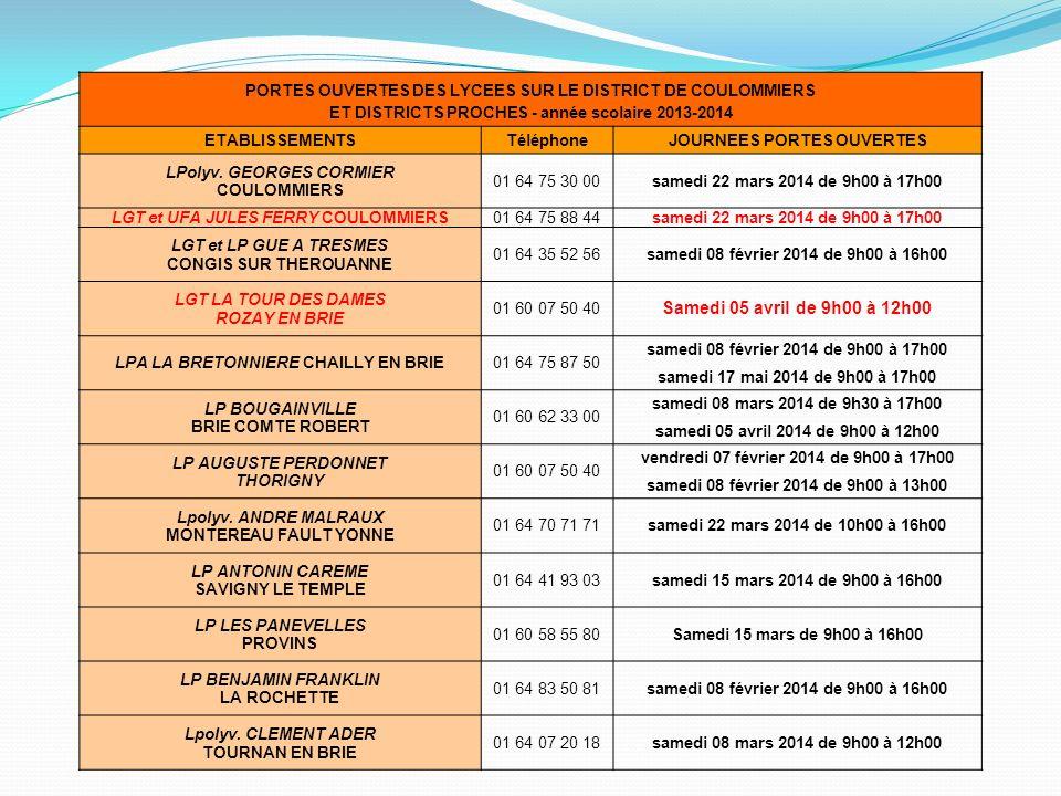 PORTES OUVERTES DES LYCEES SUR LE DISTRICT DE COULOMMIERS ET DISTRICTS PROCHES - année scolaire 2013-2014 ETABLISSEMENTSTéléphoneJOURNEES PORTES OUVER