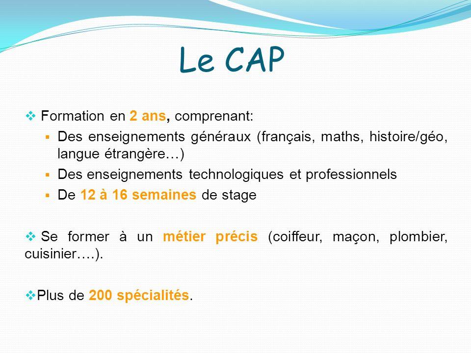 Formation en 2 ans, comprenant: Des enseignements généraux (français, maths, histoire/géo, langue étrangère…) Des enseignements technologiques et prof