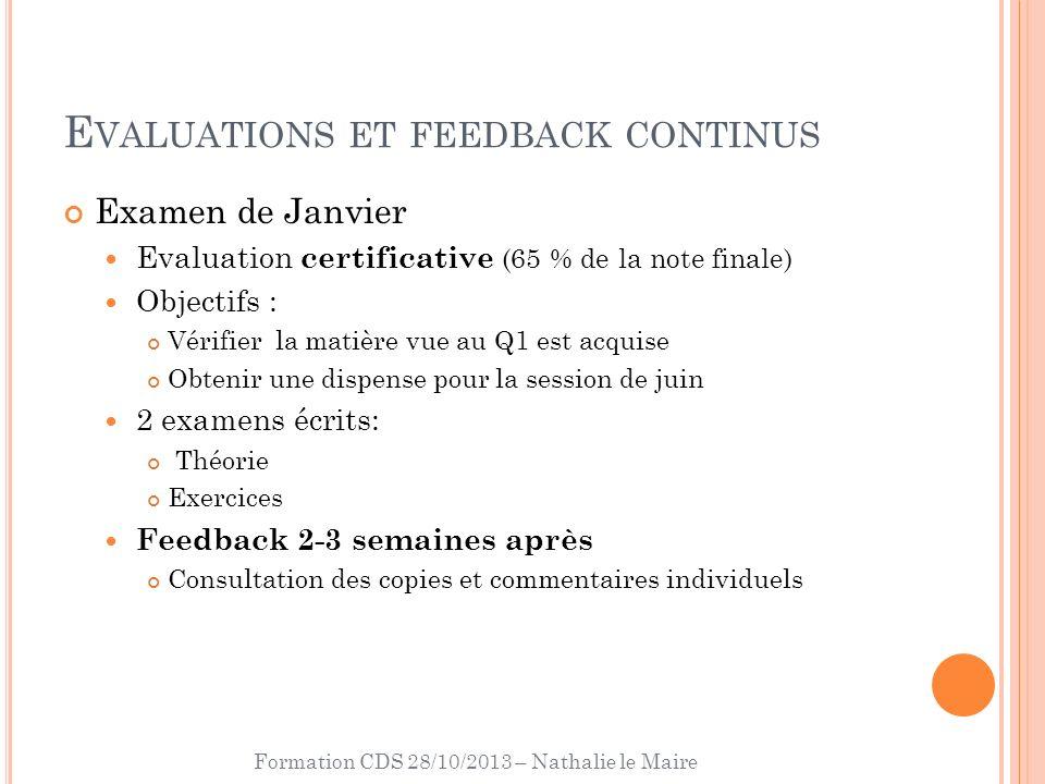 Formation CDS 28/10/2013 – Nathalie le Maire E VALUATIONS ET FEEDBACK CONTINUS Examen de Janvier Evaluation certificative (65 % de la note finale) Obj