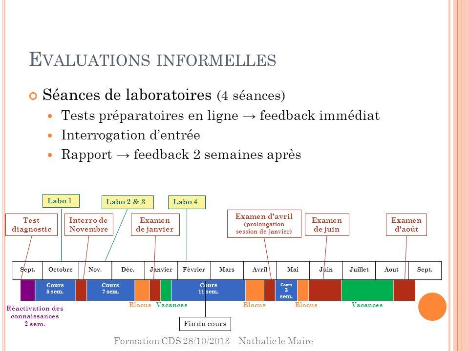 Formation CDS 28/10/2013 – Nathalie le Maire E VALUATIONS INFORMELLES Séances de laboratoires (4 séances) Tests préparatoires en ligne feedback immédi
