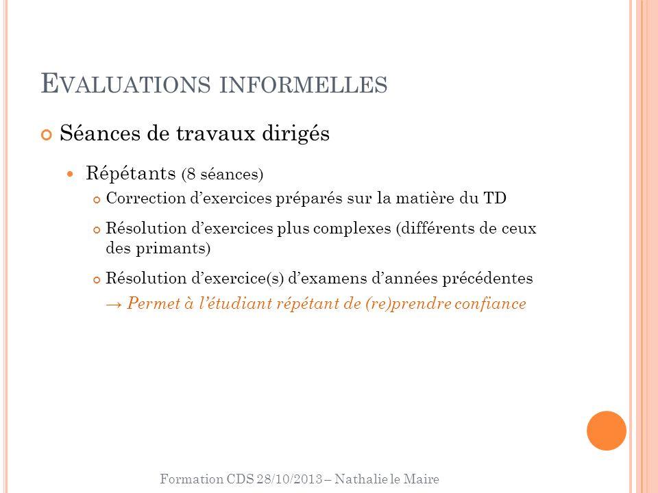 Formation CDS 28/10/2013 – Nathalie le Maire E VALUATIONS INFORMELLES Séances de travaux dirigés Répétants (8 séances) Correction dexercices préparés