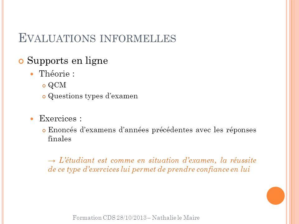 Formation CDS 28/10/2013 – Nathalie le Maire E VALUATIONS INFORMELLES Supports en ligne Théorie : QCM Questions types dexamen Exercices : Enoncés dexa