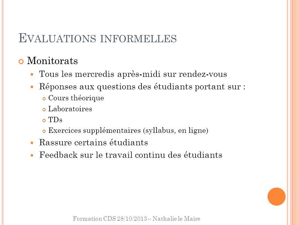 Formation CDS 28/10/2013 – Nathalie le Maire E VALUATIONS INFORMELLES Monitorats Tous les mercredis après-midi sur rendez-vous Réponses aux questions