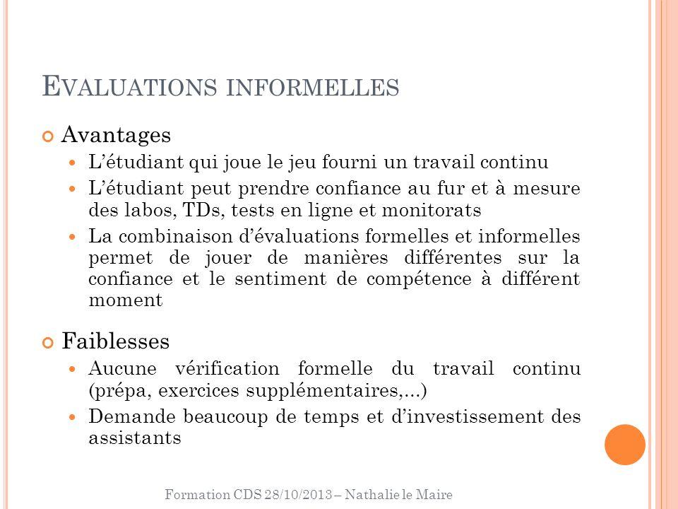 Formation CDS 28/10/2013 – Nathalie le Maire E VALUATIONS INFORMELLES Avantages Létudiant qui joue le jeu fourni un travail continu Létudiant peut pre