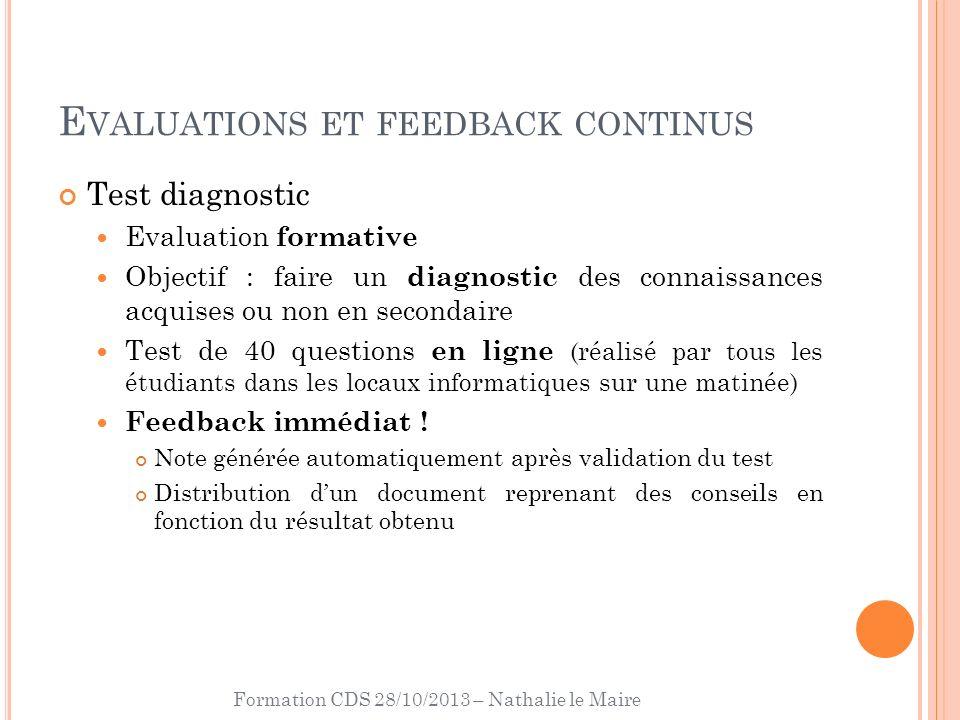 Formation CDS 28/10/2013 – Nathalie le Maire E VALUATIONS ET FEEDBACK CONTINUS Test diagnostic Evaluation formative Objectif : faire un diagnostic des