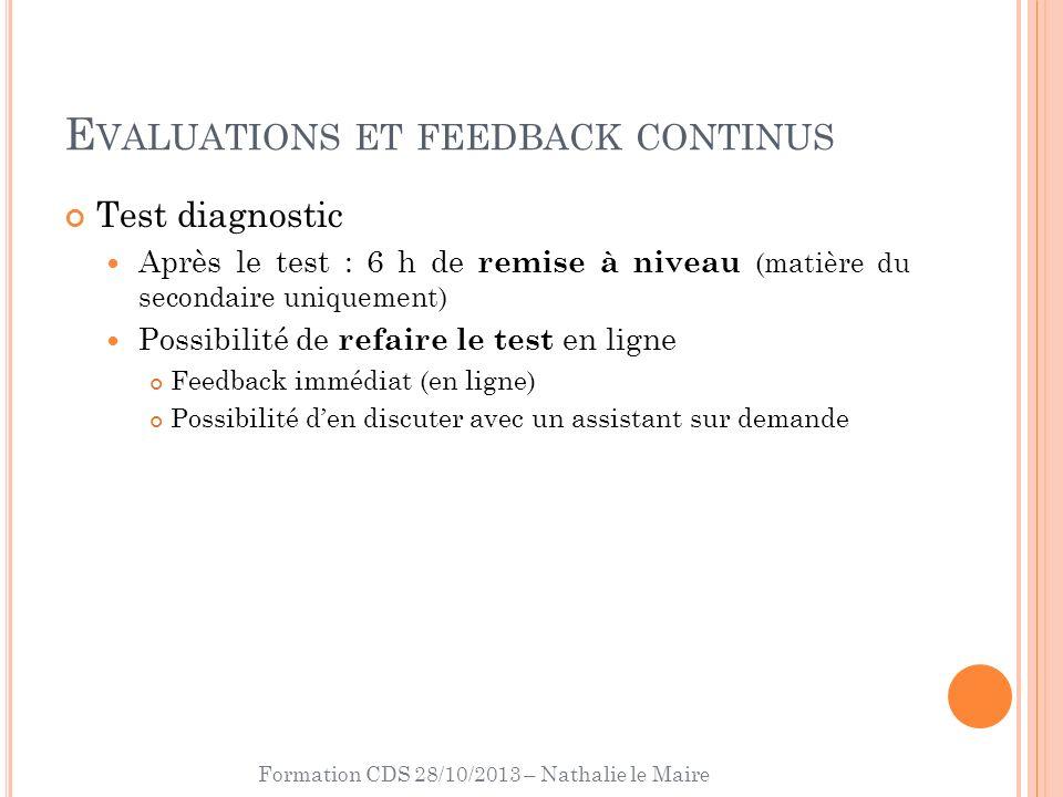 Formation CDS 28/10/2013 – Nathalie le Maire E VALUATIONS ET FEEDBACK CONTINUS Test diagnostic Après le test : 6 h de remise à niveau (matière du seco