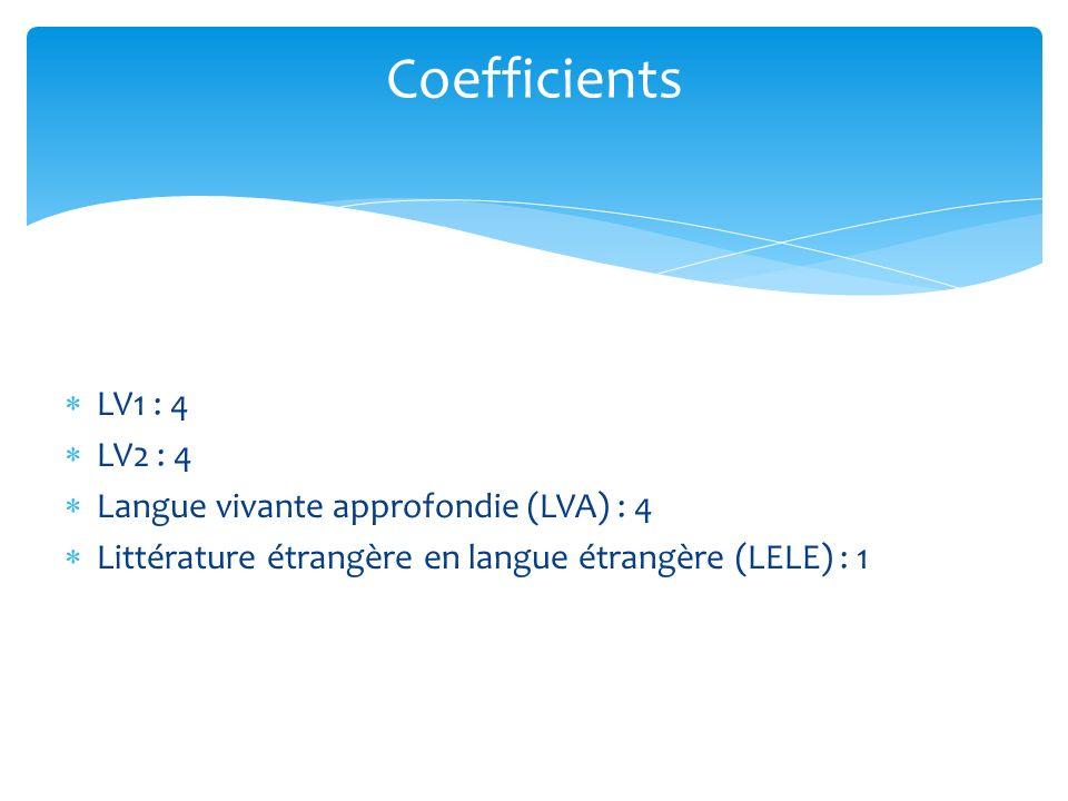 LV1 : 4 LV2 : 4 Langue vivante approfondie (LVA) : 4 Littérature étrangère en langue étrangère (LELE) : 1 Coefficients