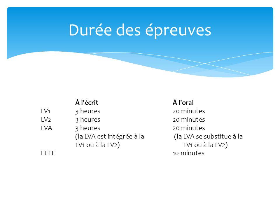 À l'écrit À l'oral LV13 heures 20 minutes LV23 heures 20 minutes LVA3 heures (la LVA est intégrée à la LV1 ou à la LV2) 20 minutes (la LVA se substitu