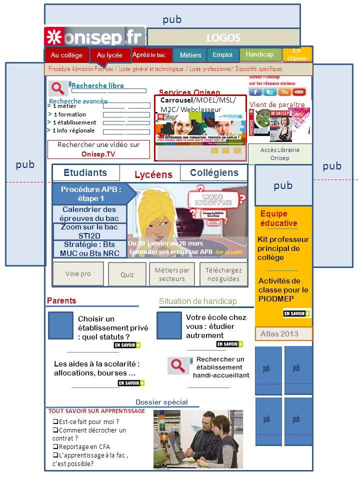 Procédure APB : étape 1 pub Au collège Handicap Au lycée Après le bac En classe Métiers Emploi Parents c Recherche libre Carrousel/MOEL/MSL/ M2C/ Webc
